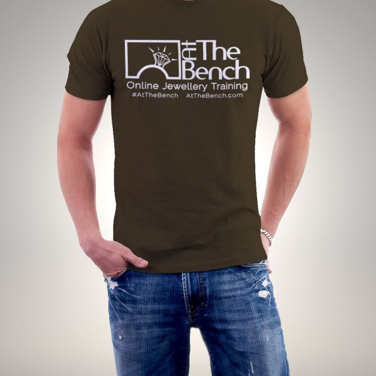 At The Bench T-Shirt in Chocolate Brown with White Lettering Gents