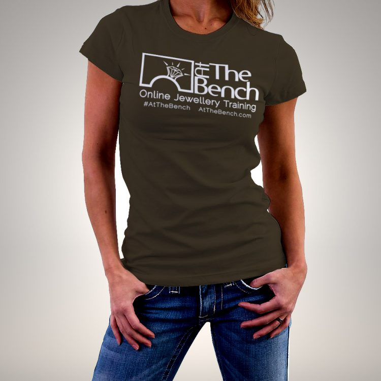 At The Bench T-Shirt in Chocolate Brown with White Lettering Ladies