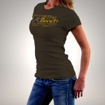 At The Bench T-Shirt in Chocolate Brown with Coloured Lettering Ladies